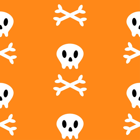 Skull with bone crosswise icon. White crossbones. Skeleton body part. Seamless Pattern. Happy Halloween sign symbol. Cute cartoon character. Pirate flag element. Orange background. Flat design. Vector