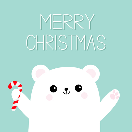 Merry Christmas. Polar white bear cub holding candy cane stick. Reaching for a hug. Cute cartoon baby character. Open hand ready for a hugging Arctic animal. Flat design. Winter background. Vector