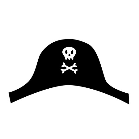 pirate black hat icon with skull crossbones cute cartoon style