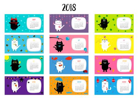 Cat horizontal monthly calendar 2018. Cute funny cartoon character set. All month. Happy Valentines Christmas St Patrick day Easter Egg Bird Chicken Umbrella, rain. Santa hat, sun Flat design Vector