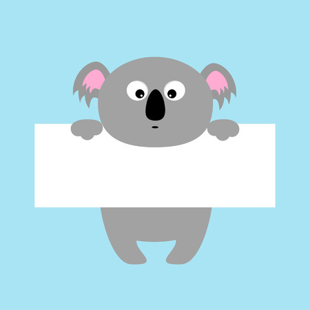 Funny koala with paper board template vector