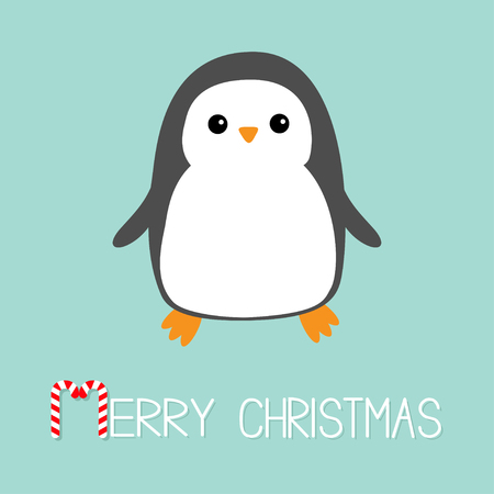 Merry Christmas Candy cane text. Kawaii Penguin bird icon. Cute cartoon baby character. Flat design Winter antarctica blue background. Greeting card. Vector illustration