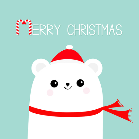 Merry Christmas Candy cane. Polar white bear cub head face wearing red Santa hat scarf. Cute cartoon smiling baby character. Arctic animal collection. Flat design Winter background. Vector Illustration