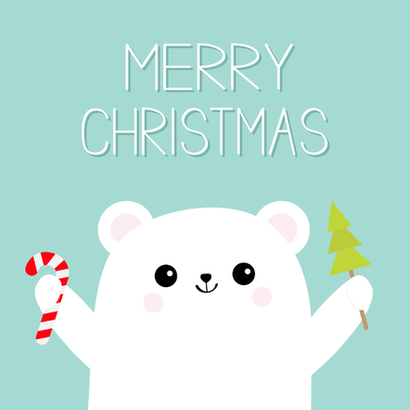 Merry Christmas card with polar white bear cub holding candy cane.