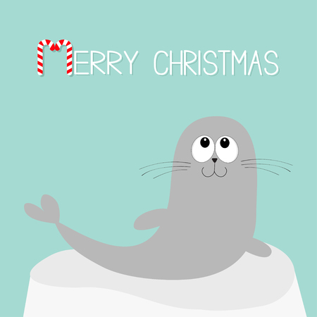 Merry Christmas Candy cane with sea lion design. Ilustracja