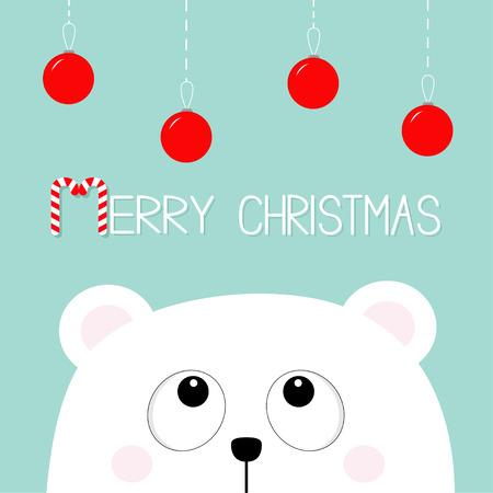 Merry Christmas Candy cane with Polar bear.