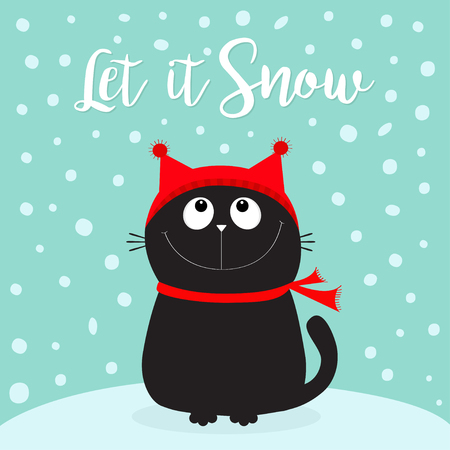 Let it snow lettering with Black kitten looking up vector Illusztráció