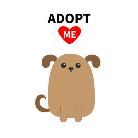 Adopt me slogan with dog Isolated Vector illustration