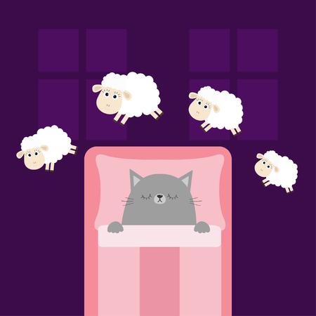 Cute sleeping gray cat Vector