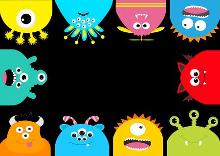 Cute cartoons scary character set