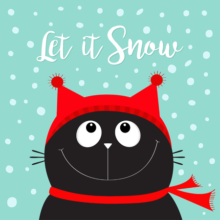 Cute funny cartoon cat character with winter snow background.