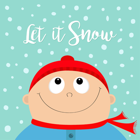 Kid wearing red hat and scarf flat design vector.