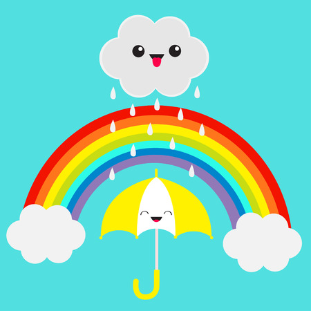 Rainbow. Smiling laughing umbrella. Cute cartoon cloud with rain drops. Showing tongue emotion. Eyes and mouth. Blue sky background. Baby funny character emoji collection. Flat design. Vector