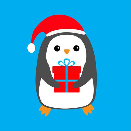 サンタクロースの赤い帽子をかぶったペンギンギフトボックスかわいい漫画面白い動物のキャラクターメリークリスマスフラットなデザイン冬の青い背景グリーティング カードベクトルイラスト