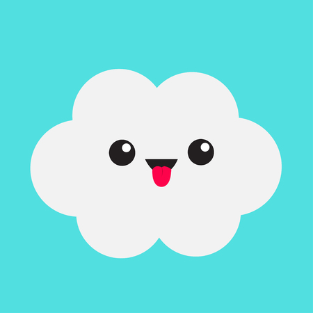 Cute cartoon white gray cloud. Showing tongue emotion. Eyes and mouth. Isolated. Blue sky background. Baby funny character emoji collection. Flat design. Vector illustration