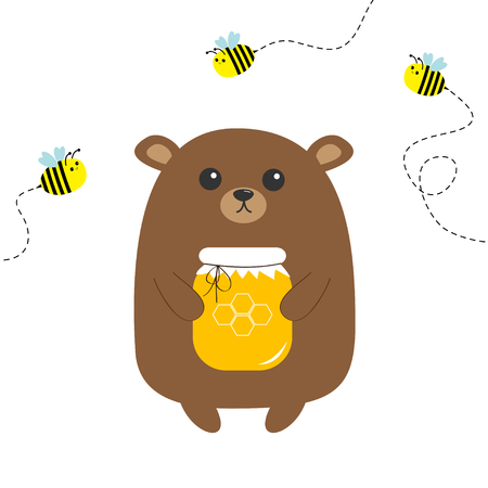 Grizzly brown bear holding honey jar with honeycomb. Flying bee insect. Dash line track. Cute cartoon funny character. Forest baby animal collection White background Isolated Flat design Vector