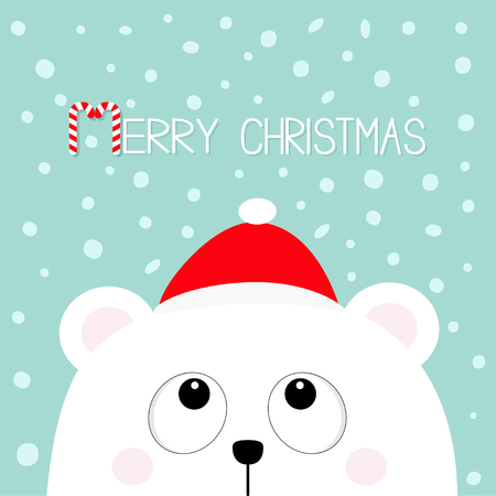 Merry Christmas Candy cane. Polar white little small bear cub head face looking up. Red Santa Claus hat. Cute cartoon baby character. Arctic animal. Flat design Winter snow flake background. Vector Illustration
