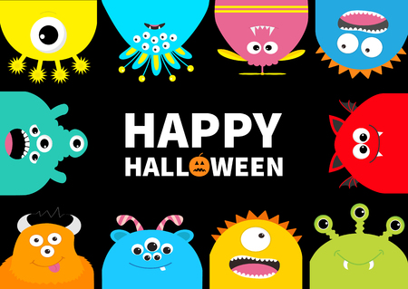 Happy Halloween greeting card. Monster frame. Orange pumpkin. Cute cartoon scary character set. Different emotion. Baby collection. Black background Isolated. Flat design. Vector illustration.