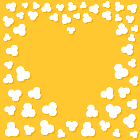 Popcorn popping. Heart shape frame. Cinema movie night sign symbol. Tasty food. Flat design style. Yellow background. Vector illustration