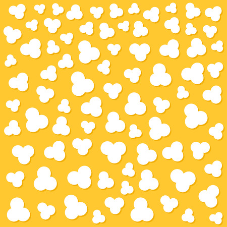 Popcorn popping. Heart shape frame. Cinema movie night sign symbol. Tasty food. Flat design style. Yellow background. Vector illustration