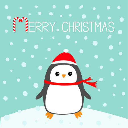 Merry Christmas Candy cane text. Penguin bird on snowdrift. Red Santa Claus hat, scarf. Cute cartoon baby character. Flat design Winter blue background with snow flake. Greeting card. Vector