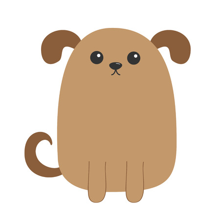 Dog puppy. Cute cartoon character. Funny face head. Pet baby collection. Eyes, nose, eyes, tail. Isolated White background Flat design. Vector illustration