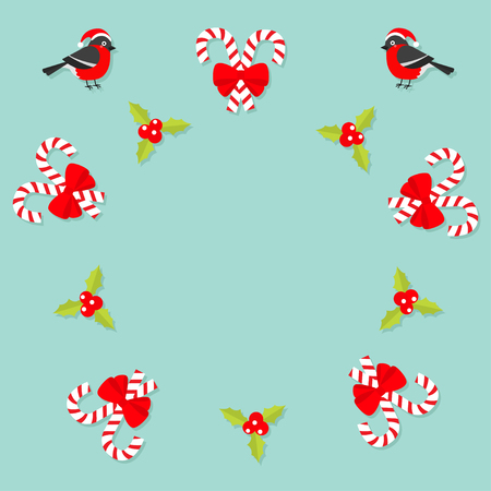 Merry Christmas Bullfinch bird. Candy Cane stick with red bow. Holly berry icon. Mistletoe. Green leaf Three red berries. Round frame. Flat design. Blue background. Vector illustration.