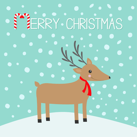 Merry Christmas. Candy cane. Cute cartoon deer with horns, red scarf. Reindeer head. Snowdrift. Blue winter snow background. Greeting card Flat design. Vector illustration.