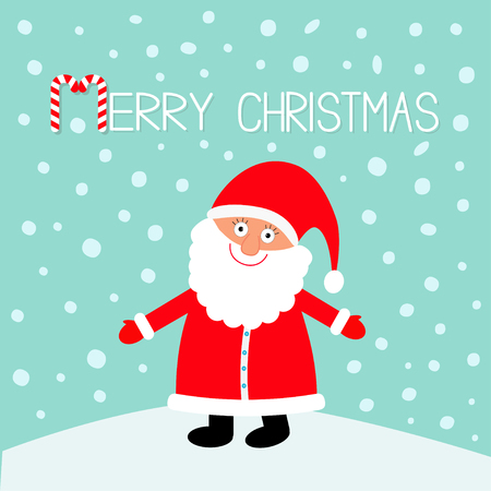 Santa Claus wearing red hat, costume, big beard. Merry Christmas. Candy cane. Cute cartoon kawaii funny character with open hand. Blue snow background. Greeting card. Vector illustration Illustration