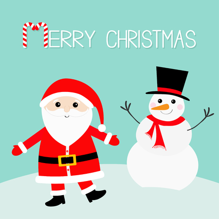 Snowman Santa Claus wearing red hat, costume, big beard, belt buckle. Merry Christmas. Candy cane. Cute cartoon kawaii funny character with open hand. Blue snow background. Greeting card. Vector. Ilustração