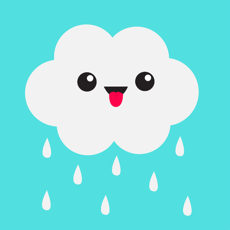 Cute cartoon kawaii cloud with rain drops. Showing tongue emotion. Eyes and mouth. Isolated. Blue sky background. Baby funny character emoji collection. Flat design. Vector illustration