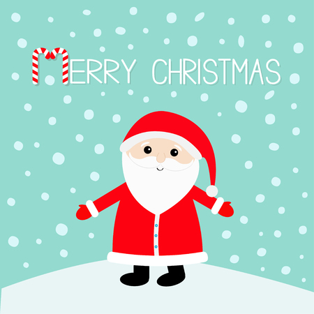 Merry Christmas. Candy cane. Santa Claus wearing red hat, costume, big beard. Cute cartoon kawaii funny character with open hand on snowdrift. Blue snow background. Greeting card. Vector illustration