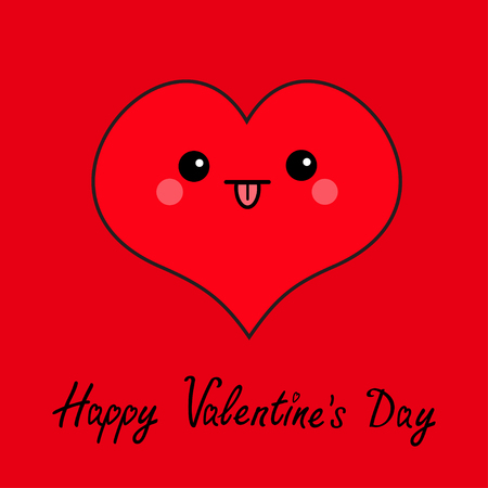 Happy Valentines day sign symbol. Red heart face head. Cute cartoon kawaii funny smiling character. Eyes, mouth, tongue out, blush cheek. Flat design. Greeting card. Isolated. White background.