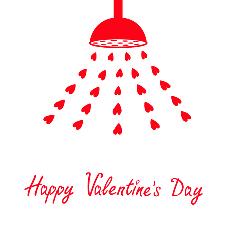 Happy Valentines Day. Red shower bath douche with red hearts water drops. Love greeting card. sign symbol. Flat design. White background. Isolated. Vector illustration