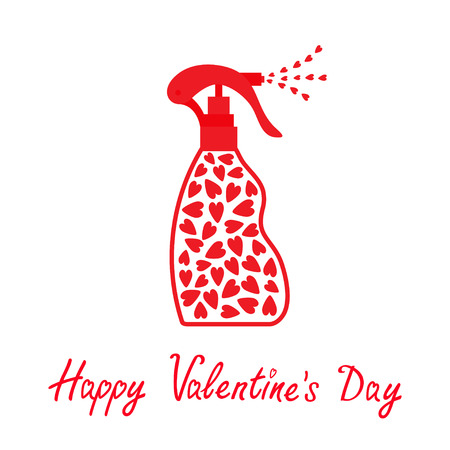 Valentines day. Spray bottle dispenser. Tube of cream with hearts inside. Body lotion shampoo gel. Love Heart drop falling down. Red line art packaging. Isolated. White background. Flat design. Vector Illustration