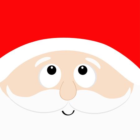 Santa Claus head face looking up. Ilustração