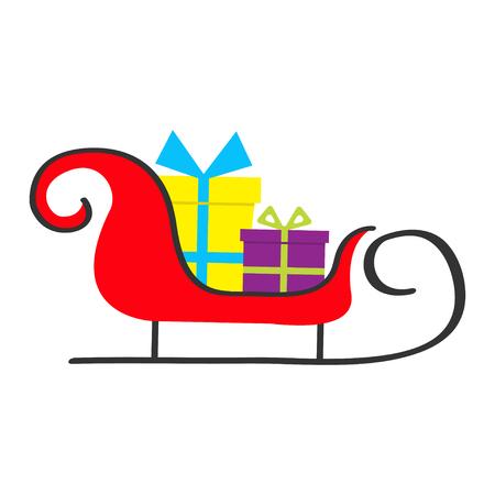 Sanie Świętego Mikołaja w zestawie z pudełkiem. Wesołych Świąt. Pudełko prezentowe z kokardą ze wstążki. Śliczne obiekty z kreskówek. Białe tło. Odosobniony. Kartka z życzeniami. Płaska konstrukcja. Ilustracji wektorowych Ilustracje wektorowe