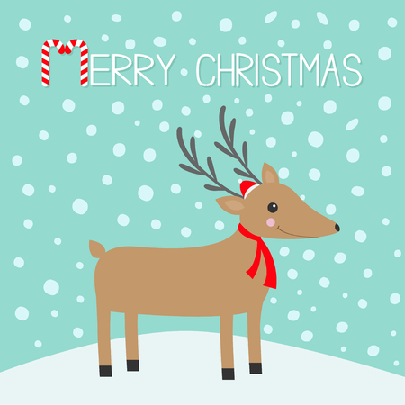 Merry christmas. Candy cane. Reindeer head. Cute cartoon deer with horns, red Santa Claus hat, scarf. Snowdrift. Blue winter snow background. Greeting card Flat design Vector illustration