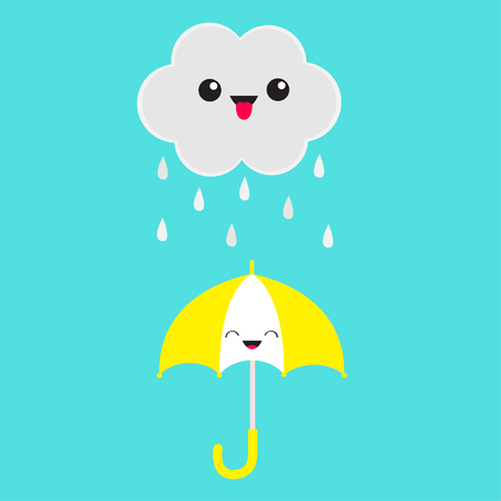 Cute cartoon cloud with rain drops. Showing tongue emotion. Smiling laughing umbrella. Eyes and mouth. Isolated. Blue sky background. Baby funny character emoji collection. Flat design. Vector