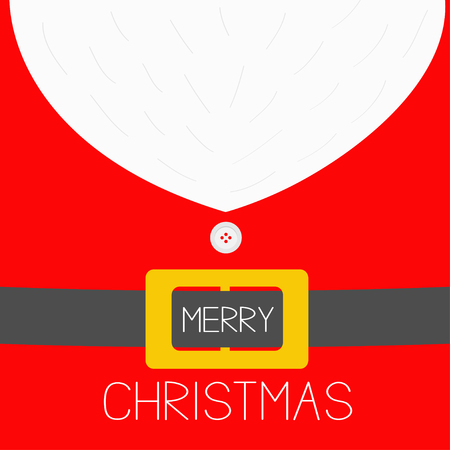 Merry Christmas. Santa Claus Coat costume with beard, fur, button and yellow golden belt buckle. Cute cartoon character. Greeting card. Red background. Flat design. Vector illustration
