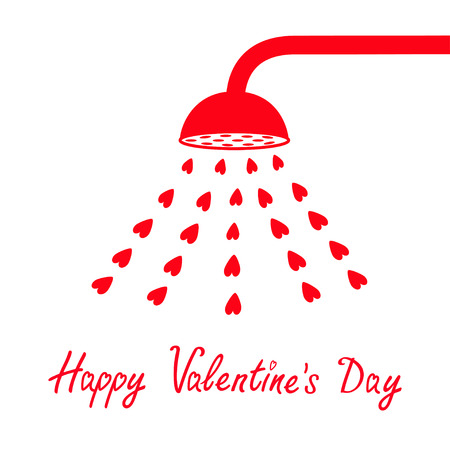 Happy Valentines Day sign symbol. Red shower bath douche with red hearts water aqua drops. Love greeting card. Flat design. White background. Isolated. Vector illustration.