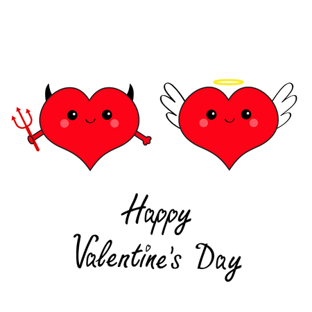 Happy Valentines day. Devil Angel Evil amour. Red heart face head icon set. Trident horn wing nimbus. Cute cartoon character. Contour symbol. Flat design. Greeting card White background. Vector