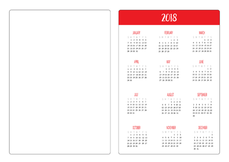 Simple Pocket Calendar Layout 2018 New Year Template Week Starts