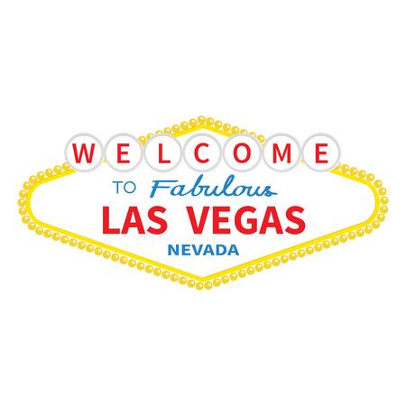 ラスベガスの看板アイコンへようこそ。古典的なレトロなシンボル。ネバダの観光ショープレイス。フラットなデザイン。白い背景。分離。ベクト