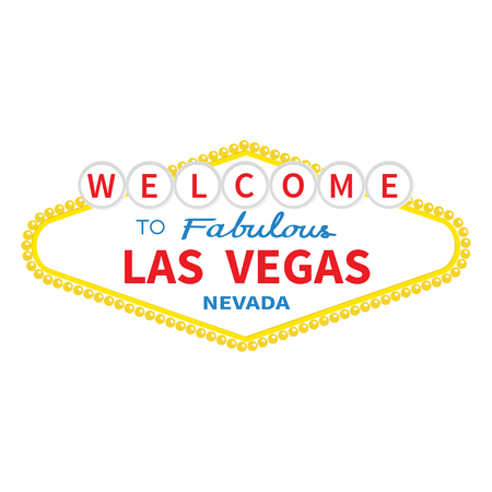 Welcome to Las Vegas sign icon. Classic retro symbol. Nevada sight showplace. Flat design. White background. Isolated. Vector illustration Vectores