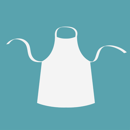 White blank kitchen cotton apron. Uniform for cook chef or baker. Cooking icon. Menu card template. Flat design. Blue background. Isolated. Vector illustration.