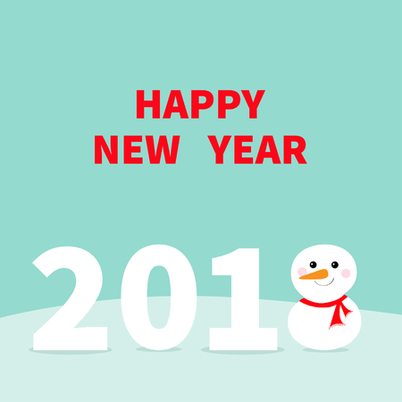 2018 Happy New Year Cute snowman on snowdrift, Red scarf and carrot nose. Template for greeting card, calendar, presentation, flyer, leaflet, postcard and poster. Flat design. Blue background Vector