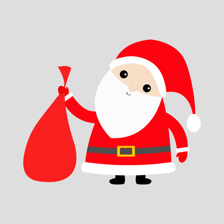 Santa Claus holding carrying sack gift bag. Red hat, costume, big beard, golden belt. Cute cartoon kawaii funny character. Merry Christmas. White background Isolated. Greeting card Vector illustration