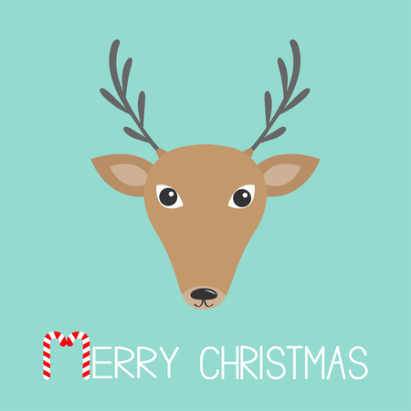 Reindeeer head. Merry christmas. Candy cane. Cute cartoon funny deer face with horns. Blue winter background. Isolated. Greeting card. Flat design. Vector illustration Illustration