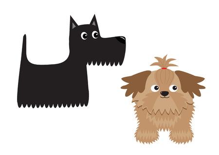 スコティッシュ ・ テリアの黒犬、シーズー。動物のアイコンを設定します。かわいい漫画のキャラクターのフラット デザイン分離白い背景のベク